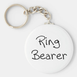 Black Text Ring Bearer Keychains