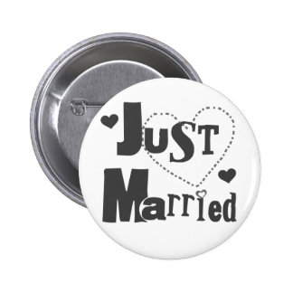 Black Text with Heart Just Married Button