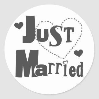 Black Text with Heart Just Married Sticker