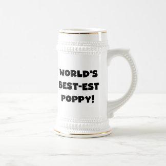 Black Text World's Best-est Poppy Gifts Beer Stein
