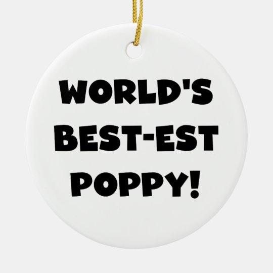 Black Text World's Best-est Poppy Gifts Christmas Ornament