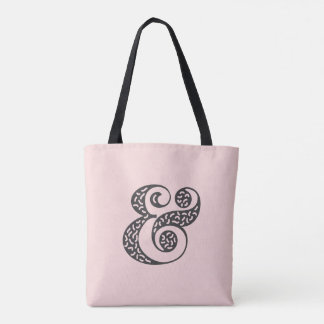 Black textured ampersand blue tote bag