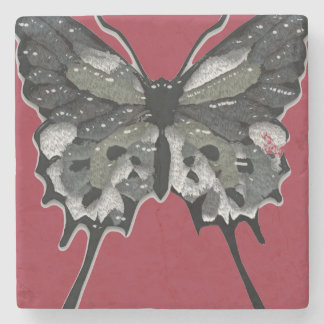 Black Textured Butterfly Stone Coaster