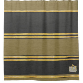 Black Textured Gold Plain Shower Curtain