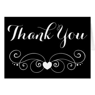 Black Thank You Heart Wedding ,Party Bridal Shower Card
