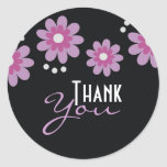 Black Thank You Stickers - Lavender Flowers