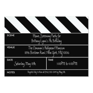 Black That's a Wrap Movie Clapper Birthday Party 13 Cm X 18 Cm Invitation Card