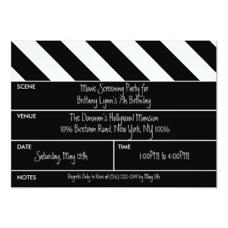 Black That's a Wrap Movie Clapper Birthday Party Card
