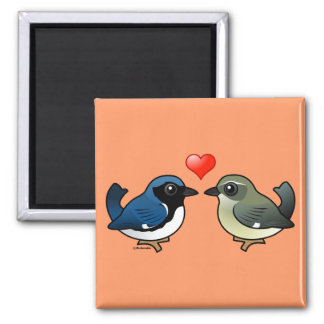Black-throated Blue Love Square Magnet