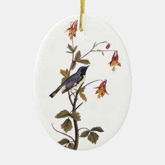 Black-Throated Blue Warbler Audubon Bird Ceramic Oval Decoration