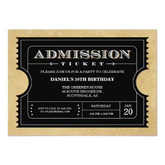 Black Ticket Invitations