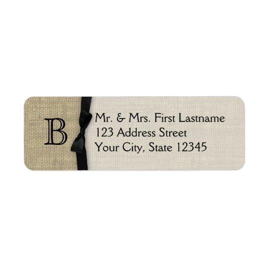 Black Tie and Burlap Monogram Return Address Label