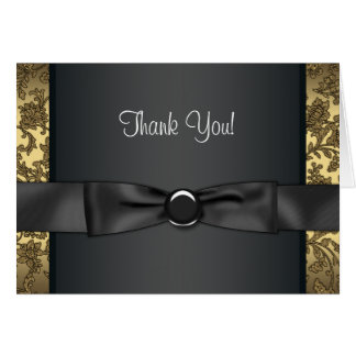 Black Tie Black and Gold Thank You Cards
