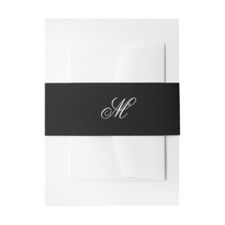 Black Tie   Black White   Belly Band Invitation Belly Band