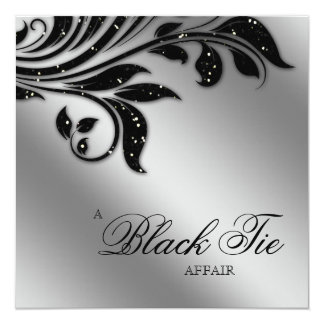 Black Tie Christmas Party Sparkle Silver Card