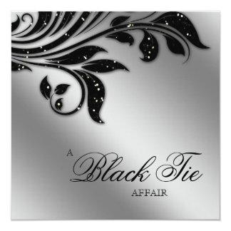 Black Tie Christmas Party Sparkle Silver 5.25x5.25 Square Paper Invitation Card