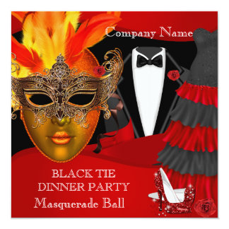 Black Tie Corporate Formal Masquerade Ball 13 Cm X 13 Cm Square Invitation Card