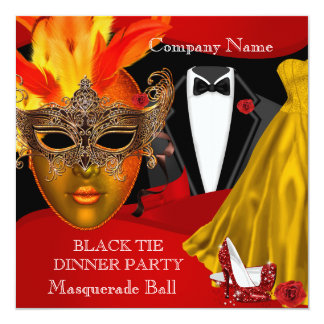 Black Tie Corporate Formal Masquerade Ball 2 13 Cm X 13 Cm Square Invitation Card
