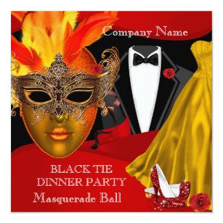 Black Tie Corporate Formal Masquerade Ball 2 5.25x5.25 Square Paper Invitation Card