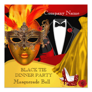 Black Tie Corporate Formal Masquerade Ball 3 13 Cm X 13 Cm Square Invitation Card