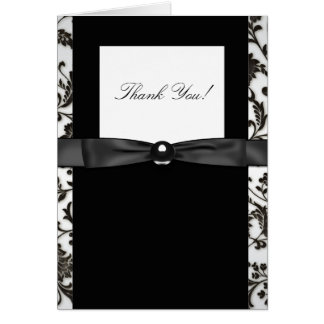 Black Tie Damask Thank You Cards
