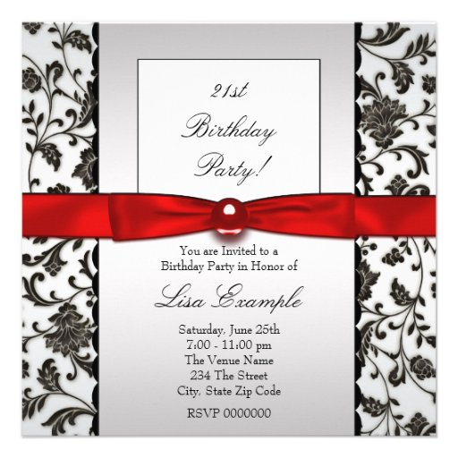 Black Tie Damask Womans 21st Birthday Party Personalized Invitations