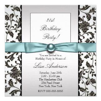 Black Tie Damask Womans Birthday Party 13 Cm X 13 Cm Square Invitation Card