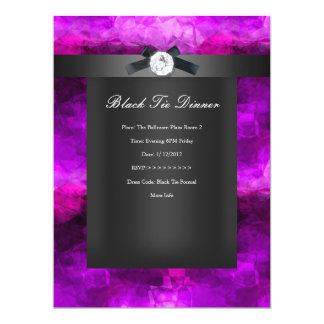 Black Tie Dinner Magenta Silver black 17 Cm X 22 Cm Invitation Card