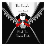 Black Tie Dinner White Red Bow Party 2 Personalized Invitations