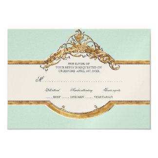 Black Tie Elegance 2, Golden Wedding Aqua RSVP 9 Cm X 13 Cm Invitation Card