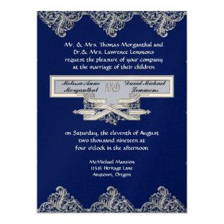 Black Tie Elegance 3 - Silver Look Vintage Damask 17 Cm X 22 Cm Invitation Card