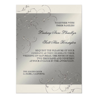 Black Tie Elegance, Silver Wedding Invitations