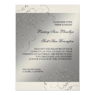"Black Tie Elegance, Silver Wedding Invitations 6.5"" X 8.75"" Invitation Card"