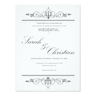 Black Tie - Elegant Simple - Wedding - Invitation