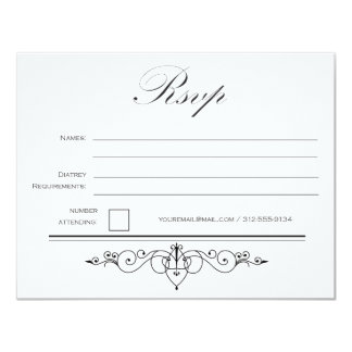 Black Tie - Elegant - Simple - Wedding - RSVP Card