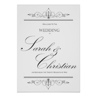 Black Tie - Elegant - Wedding - Welcome Sign Poster