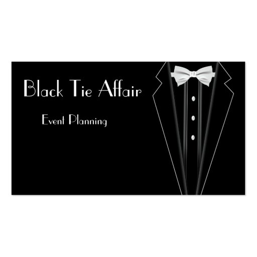 Black Tie Formal Tuxedo Event Planning Business Card