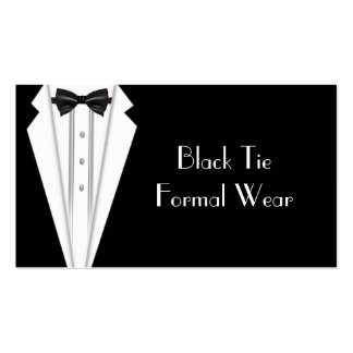 Black Tie Formal White Tuxedo Business Pack Of Standard Business Cards