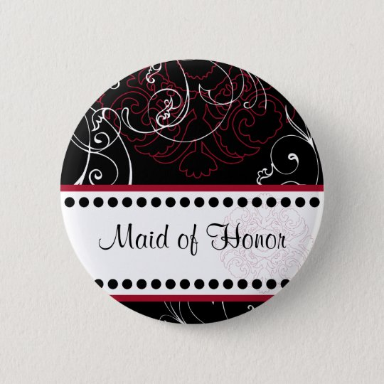 Black Tie Maid of Honour Wedding Party Button