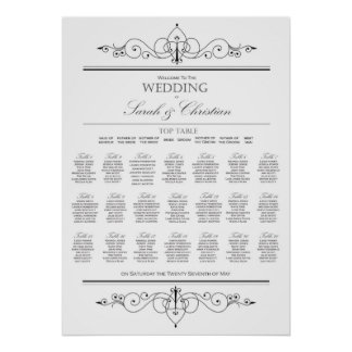 Black Tie - Wedding - Seating Chart - Table Plan Poster
