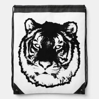 Black tiger drawstring backpacks