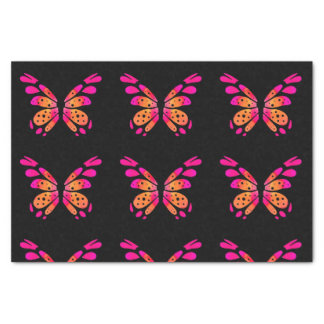 Black Tissue Paper with Pink Butterfly Design