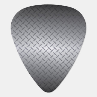 Black to Bright Steel Fade Diamondplate Background Plectrum