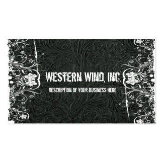 Black Tooled Leather and Lace Business Card