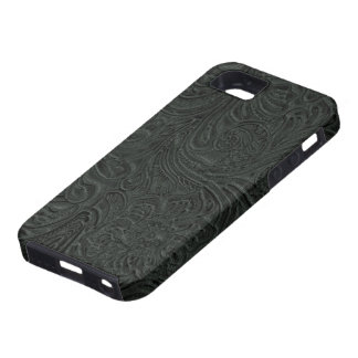 Black Tooled Leather Look Cowboy Country Case For The iPhone 5