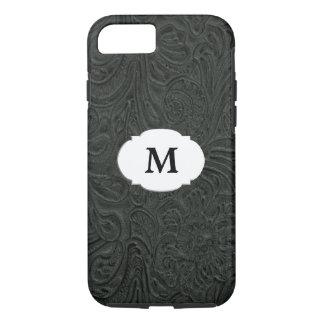 Black Tooled Leather Look Monogram iPhone 7 Case