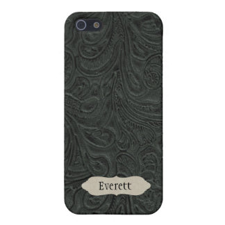 Black Tooled Leather Look Personalized iPhone 5/5S Cover