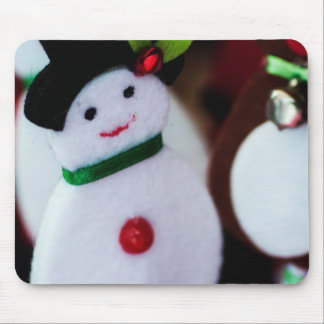black top hat snowman with Cane, christmas card i Mouse Mat