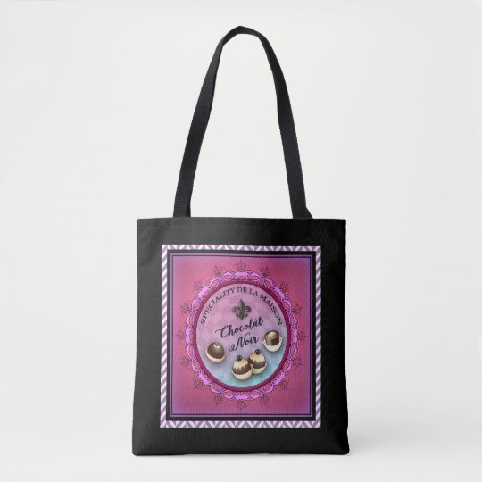 Black tote bag with chocolate theme