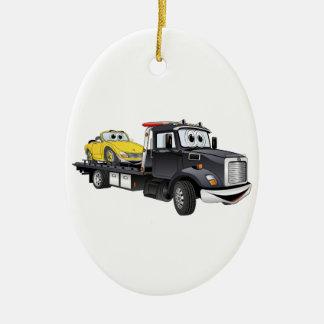 Black Tow Truck Flatbed Cartoon Christmas Ornament